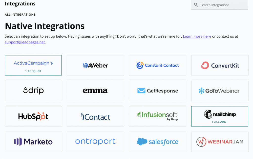 Integrate Email with Leadpages