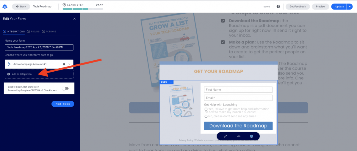 Integrate Leadpages with Active Campaign