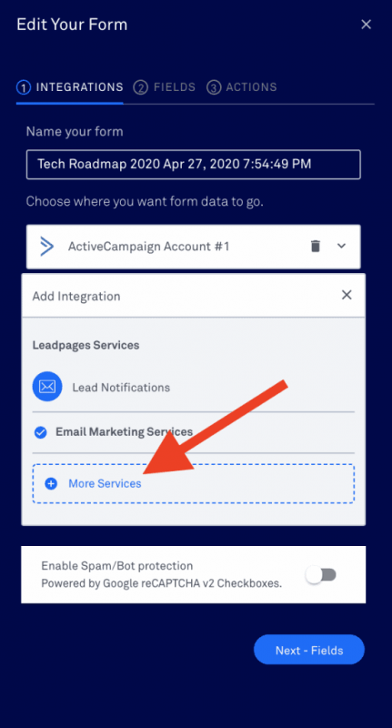 Integrate Leadpages form with Active Campaign