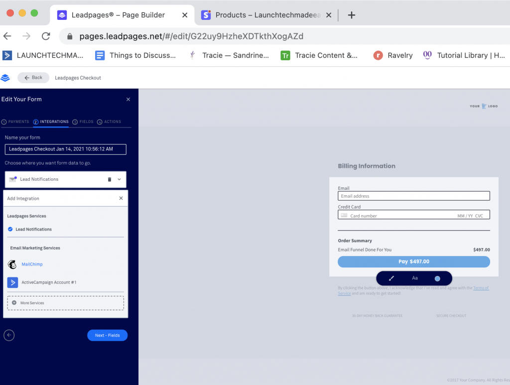 Integrate Leadpages with Stripe Leadpages Form Integrations