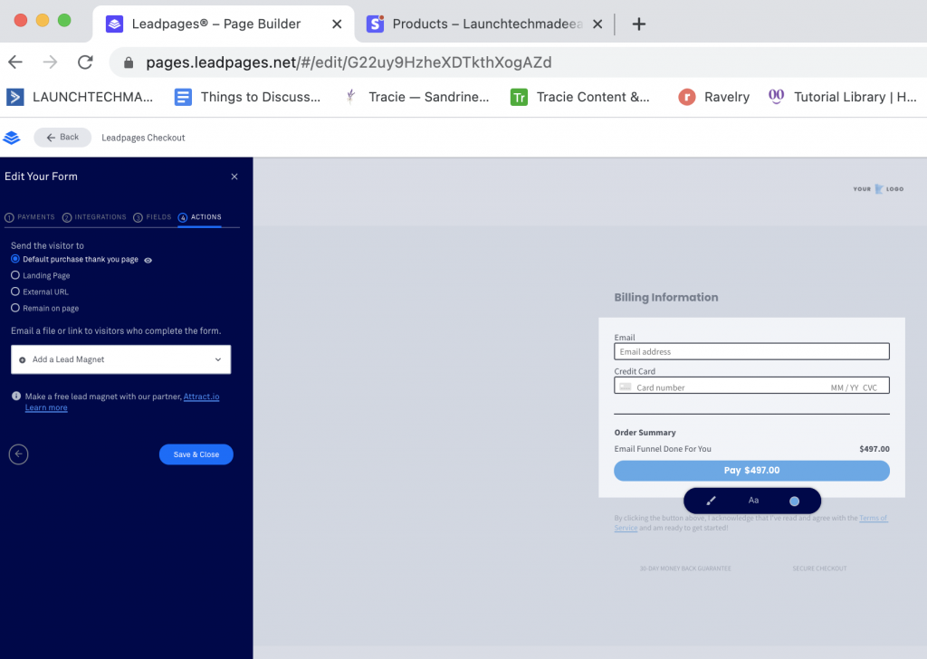 Integrate Leadpages with Stripe Form Actions
