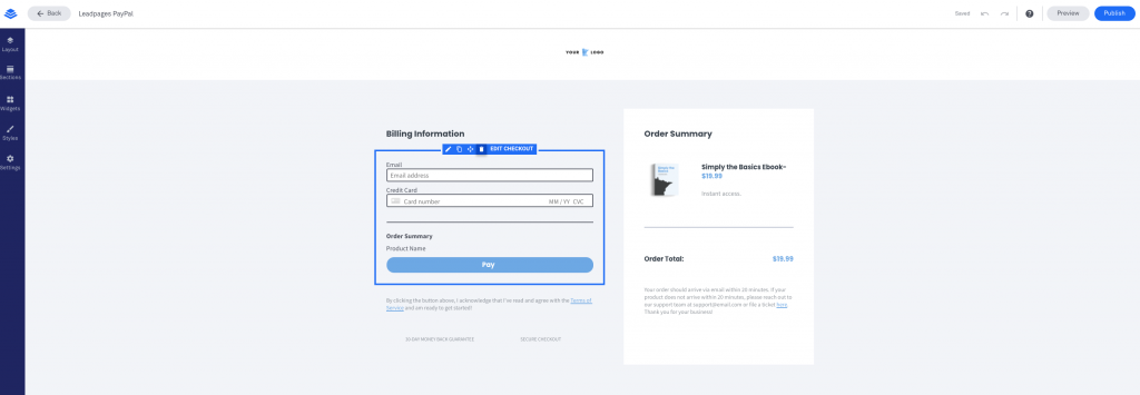 Leadpages Integration with PayPal Form