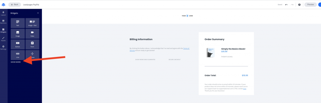 Leadpages Integration with Paypal Form Removed