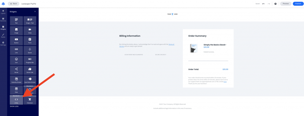Leadpages Integration with PayPal html Widget
