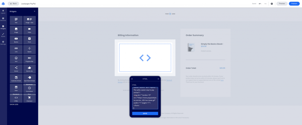 Leadpages Integration with PayPal HTML code