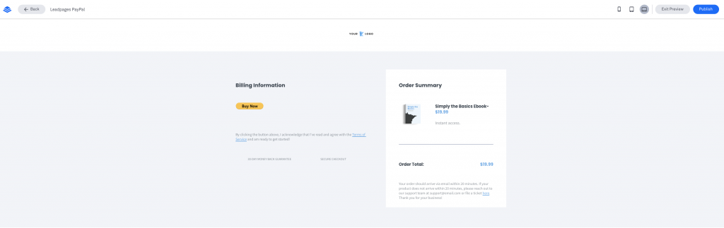 Leadpages Integration with PayPal Buy Now Button