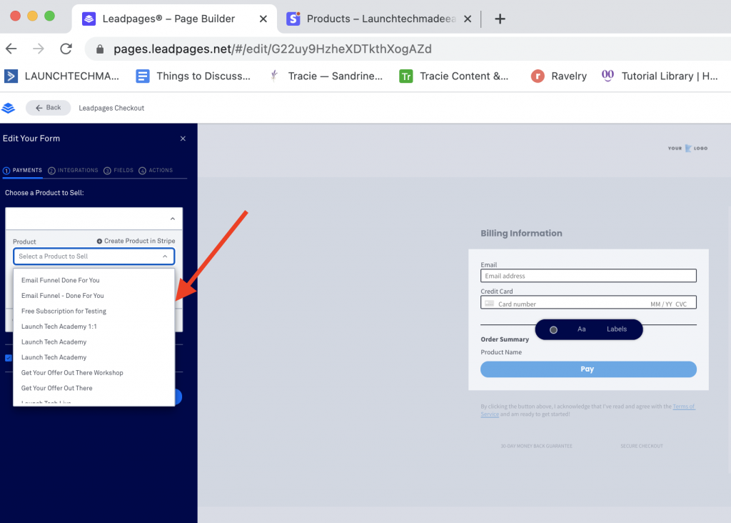 Integrate Leadpages with Stripe LP button