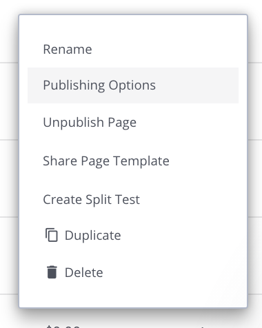 Leadpages Integration Publishing Menu