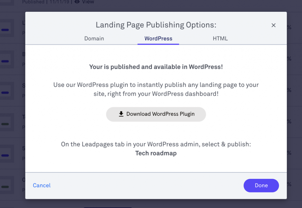 Leadpages WordPress Plug in