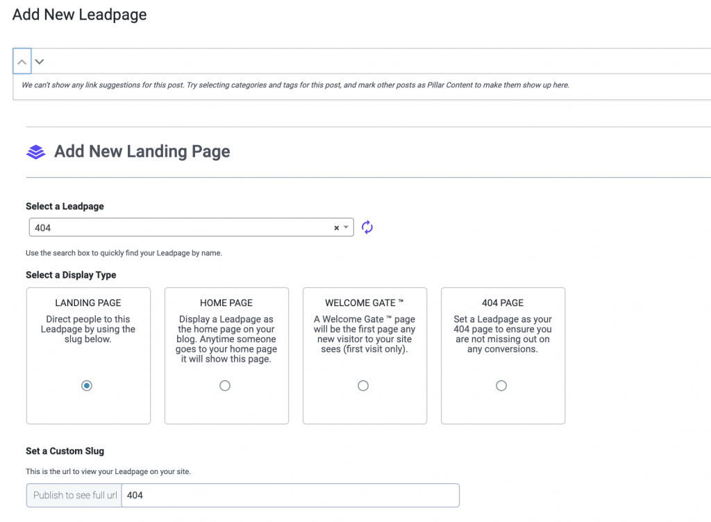 Leadpages Add Landing Page WordPress