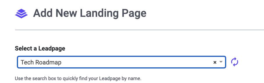 Select Leadpage to Add WordPress