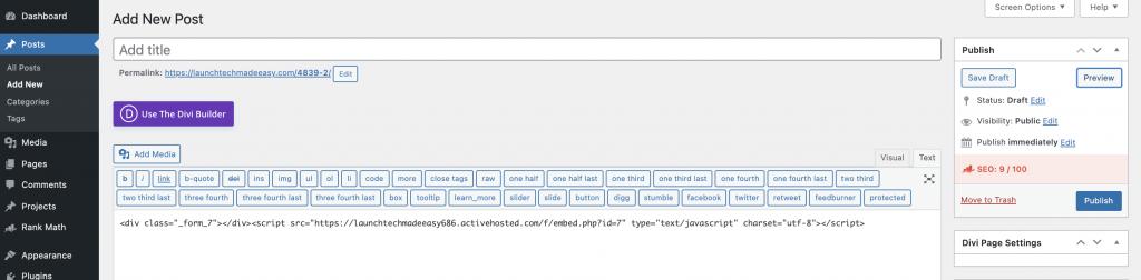 ActiveCampaign Form Integration WordPress