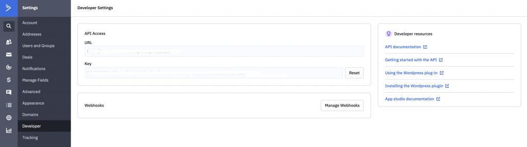 ActiveCampaign API Settings