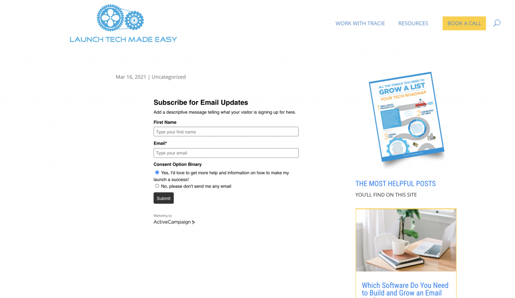 ActiveCampaign Form on WordPress Page