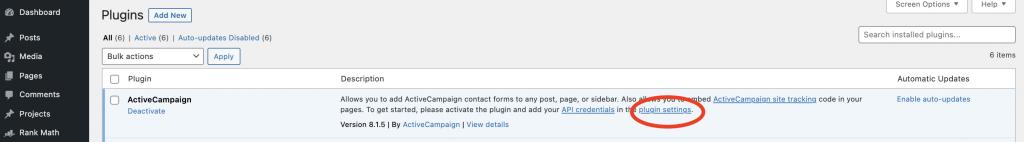 ActiveCampaign WordPress Integration API