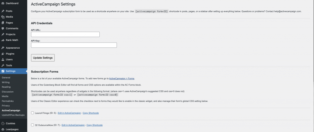 ActiveCampaign Wordpress plugin form settings