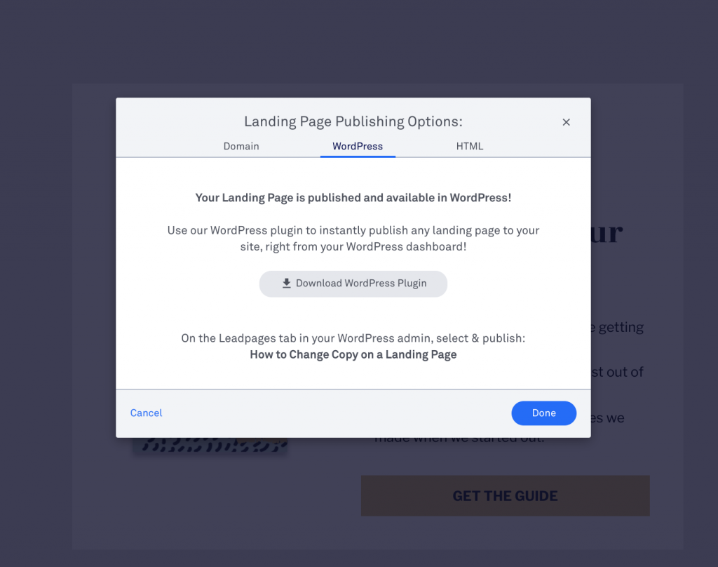 Leadpages landing page plug in for high converting squeeze page